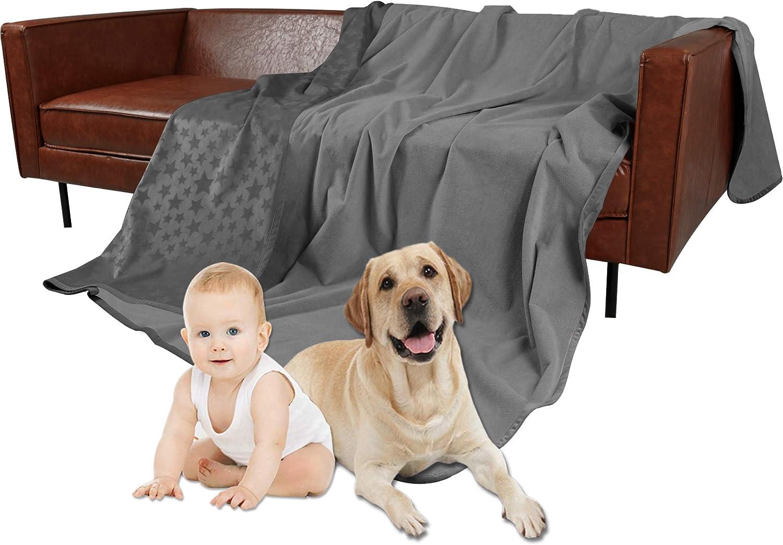 Ameritex Pet Bed Blanket Reversible 100% Waterproof Super Soft for Furniture Bed Couch Sofa Velvet