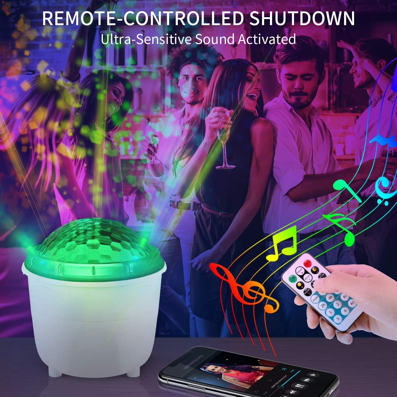 Zeonetak Night Light Projector 2-in-1 Function Remote Control Timer Design Sleep Soothing Baby Room Night Light for Kids Sound Activated Rotating Projector for Christmas Halloween Home Party Gift by Zeonetak