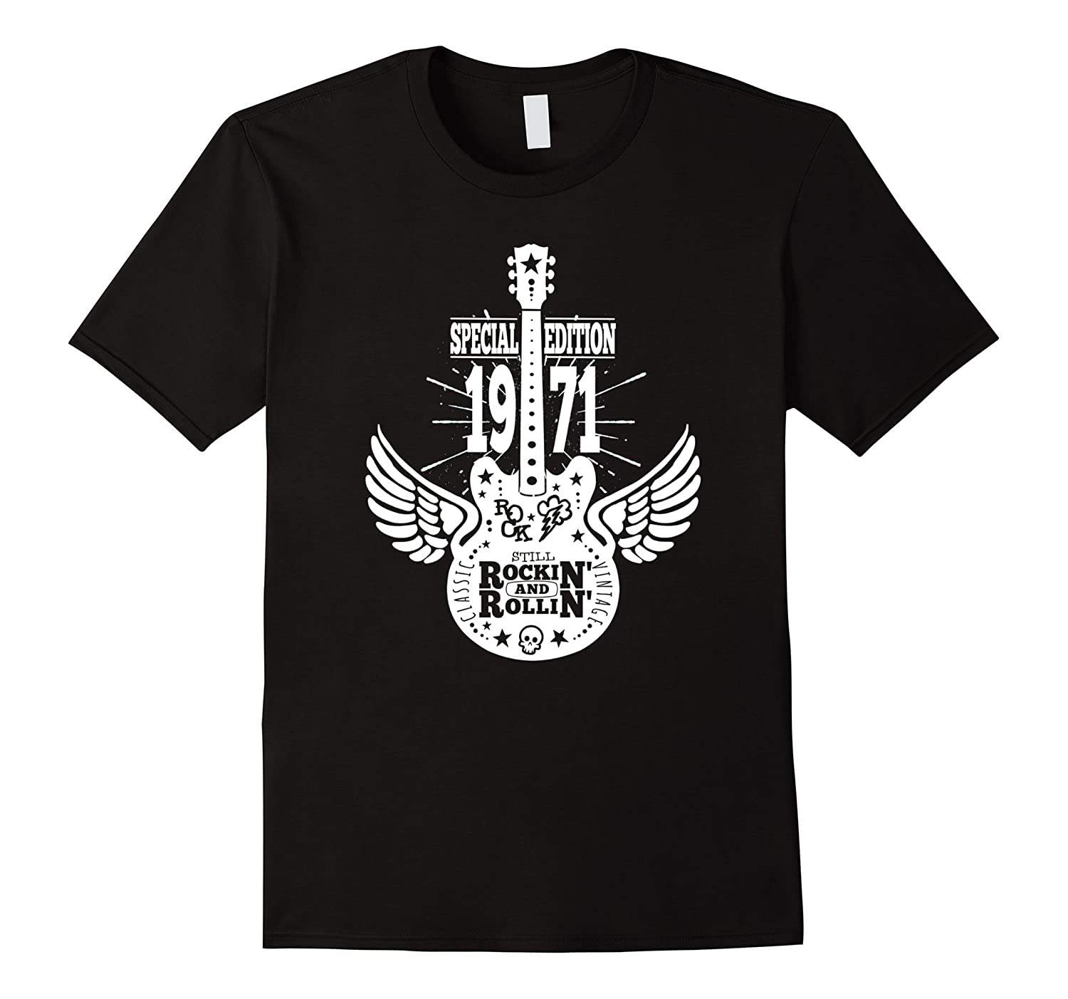 1971 Vintage Winged Guitar Birthday Men TShirt-FL