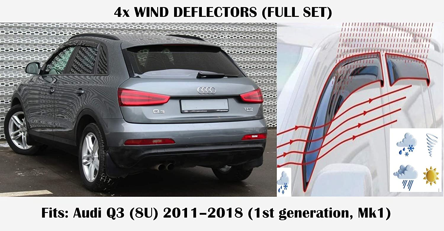 typ 8U Mrp Set Of 4 Wind Deflectors Compatible with AUDI Q3 RS Q3 2011 2012 2013 2014 2015 2016 2017 2018 Acrylic Glass Side Visors PMMA