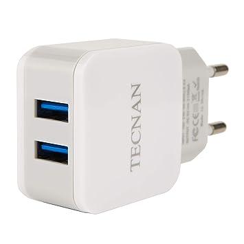 Tecnan Cargador USB 2,1 A con 2 Puertos USB Fuente de ...