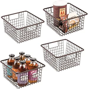"mDesign Farmhouse Decor Metal Wire Food Storage Organizer Bin Basket with Handles for Kitchen Cabinets, Pantry, Bathroom, Laundry Room, Closets, Garage - 10.25"" x 9.25"" x 5.25"" - 4 Pack - Bronze"