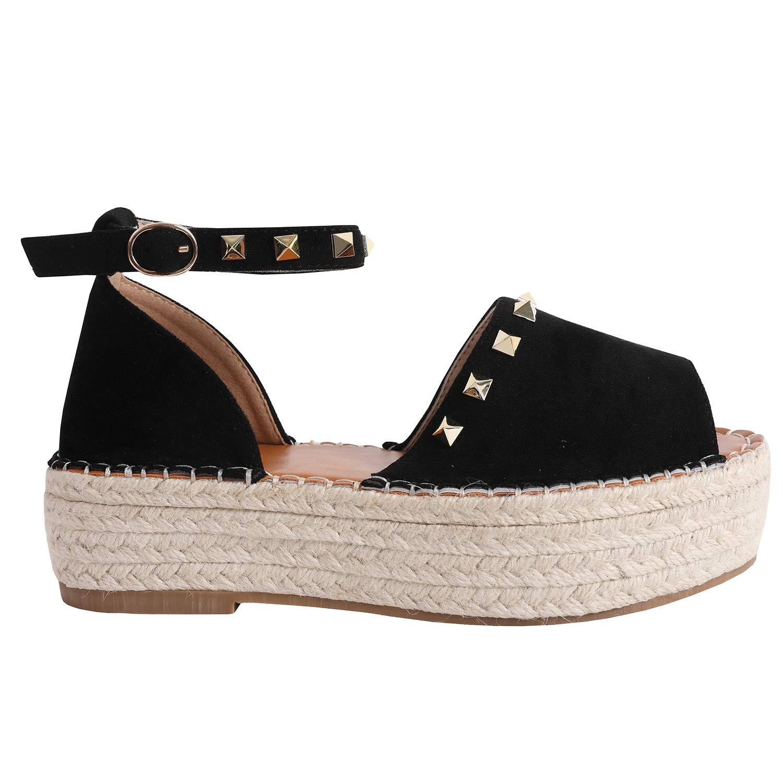 2-black Syktkmx Womens Espadrilles Lace Up Flat Platform Ankle Strap Wrap Summer D'Orsay Sandals