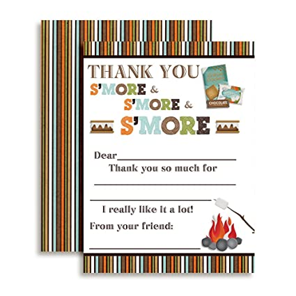 amazon com s mores birthday thank you notes for kids ten 4 x 5 5