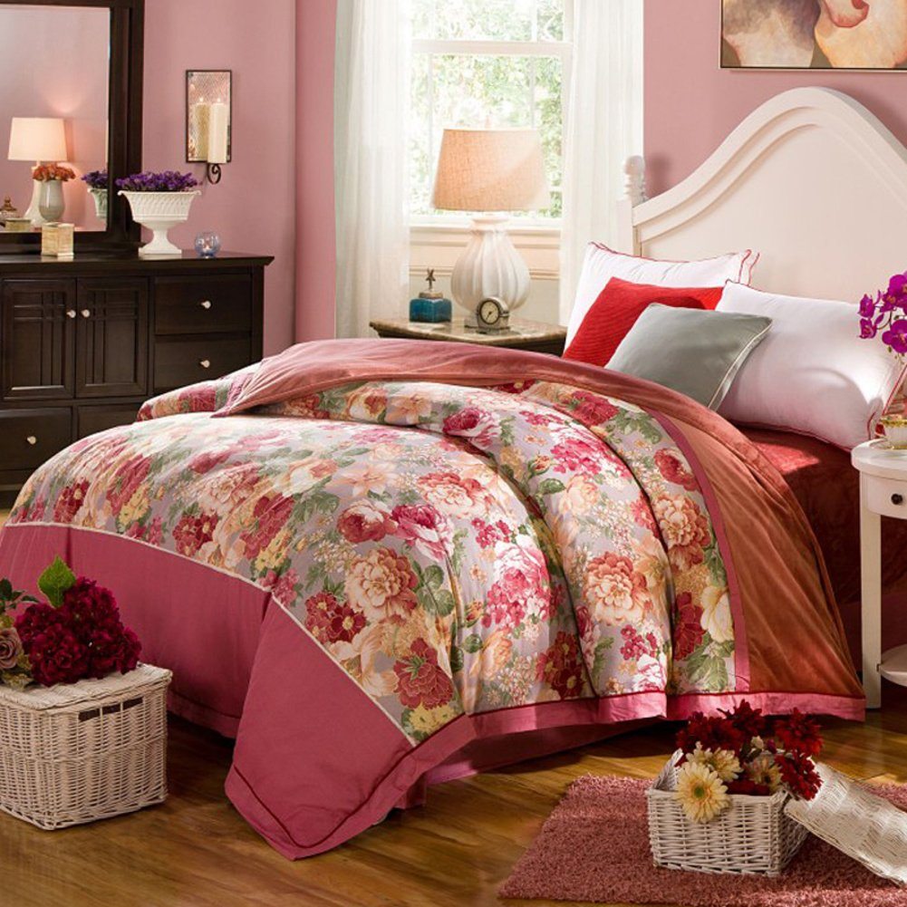 LJ&XJ Thickened warm duvet cover,Stylish reversible quilt cover queen&king a cotton b flannel-M 200x230cm(79x91inch)