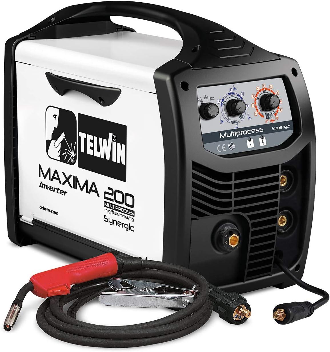 Telwin Elements Maxima 200Multi Proceso SynergicGas Soldador Mig/Mag Wig Mma Relleno Alambre 20170A, 230V, Incluye Relleno De Alambre De Manguera Del Paquete Y Sudor Escobillero