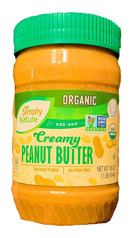 Simply Nature Organic Peanut Butter 16 oz Jar | Organic Peanut Butter | Non GMO | Gluten Free | Unsweetened