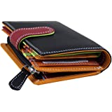 Ladies Luxury High Quality Soft Black (Multi Coloured Inside) Hand Double-Stitched Real Nappa Leather RFID blocking Small Multi Fall Purse Large Multi Credit Card Wallet with Zip Up Coin Compartment
