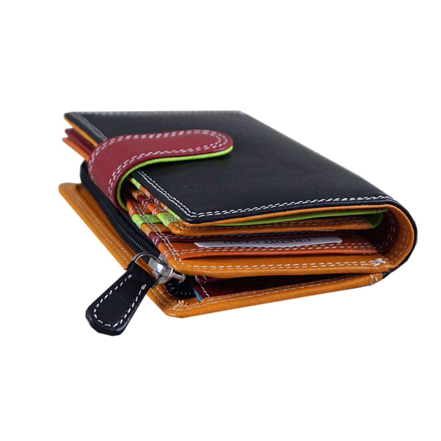Ladies Luxury Soft Black (Multi Colored Inside) Hand Double-Stitched Real Nappa Leather RFID blocking Small Multi Fall Purse Large Multi Credit Card Wallet with Zip Up Coin Compartment