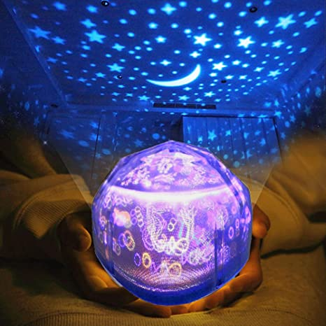 2-IN-1 Proyector de luz nocturna con 3 juegos de películas ...