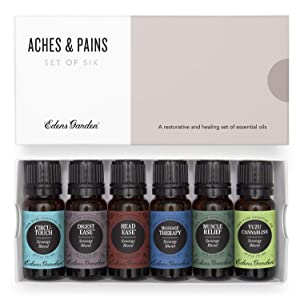 Edens Garden Aches & Pains Essential Oil 6 Set, Best 100% Pure Aromatherapy Natural Wellness Kit (For Therapeutic Use- Sore Muscle Relief), 10 ml