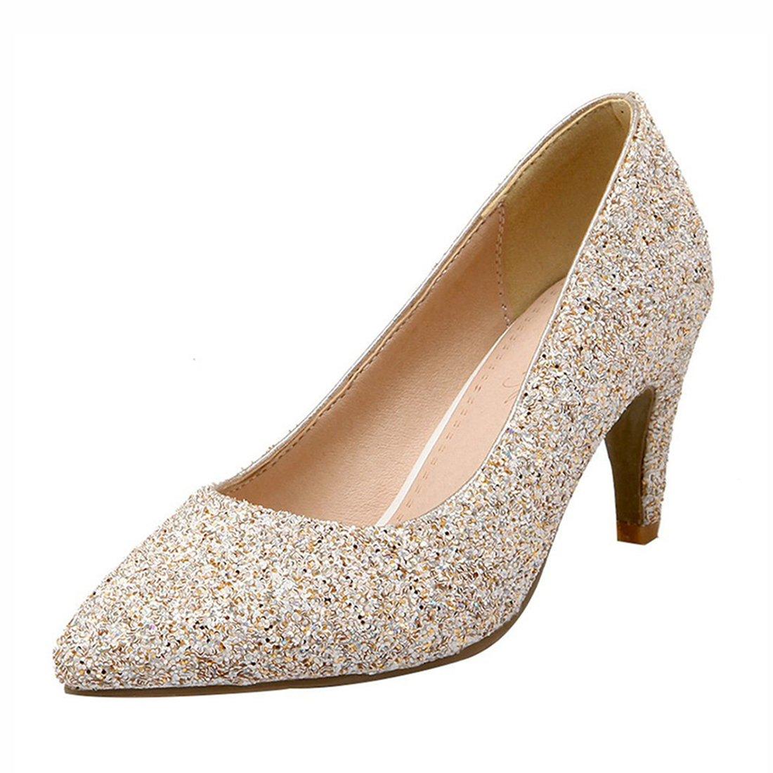 5f45fc33060efd Agodor Damen High Heels Stiletto Pumps mit Strass und Glitzer Spitze  Elegant Braut Hochzeit Schuhe - sommerprogramme.de