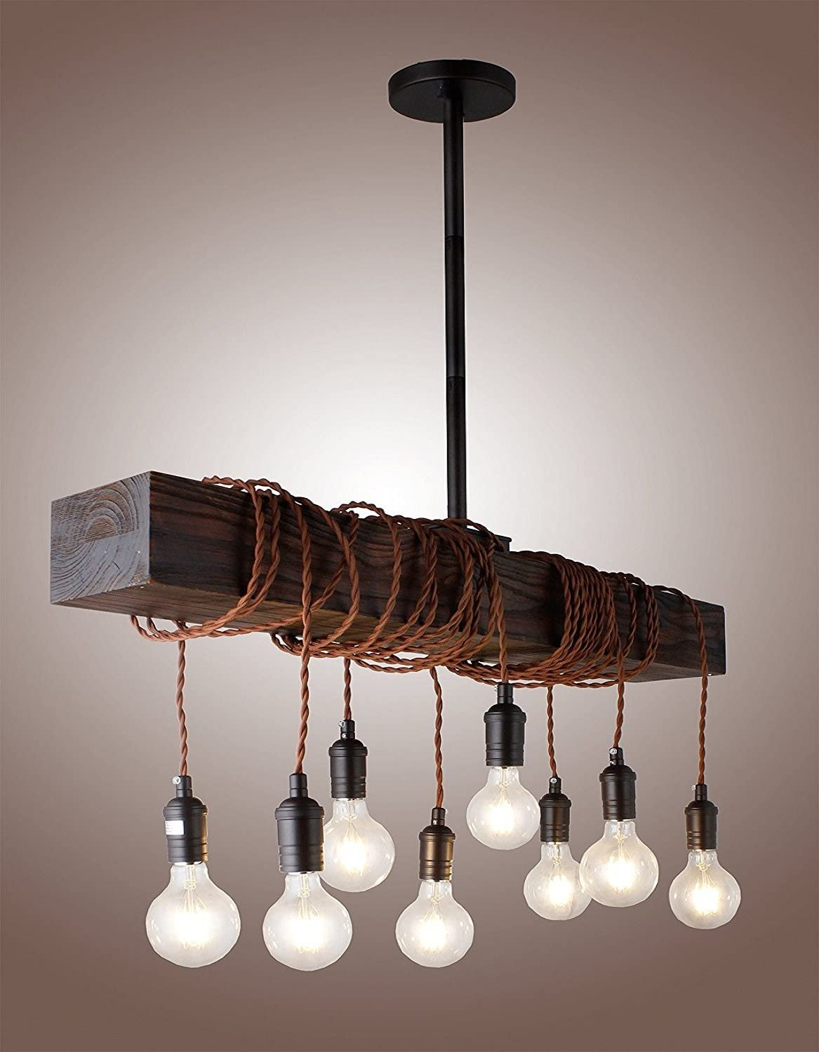 32 Vintage Rustic Wood Beam Pendant Light Antique Decor Chandelier – Perfect for Kitchen, Bar, Farmhouse, Industrial, Island, Billiard and Edison Bulb Decor. Natural Reclaimed Rustic Wooden Light