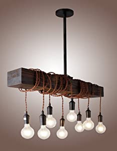 """32"""" Vintage Rustic Wood Beam Pendant Light Antique Decor Chandelier - Perfect for Kitchen, Bar, Farmhouse, Industrial, Island, Billiard and Edison Bulb Decor. Natural Reclaimed Rustic Wooden Light"""