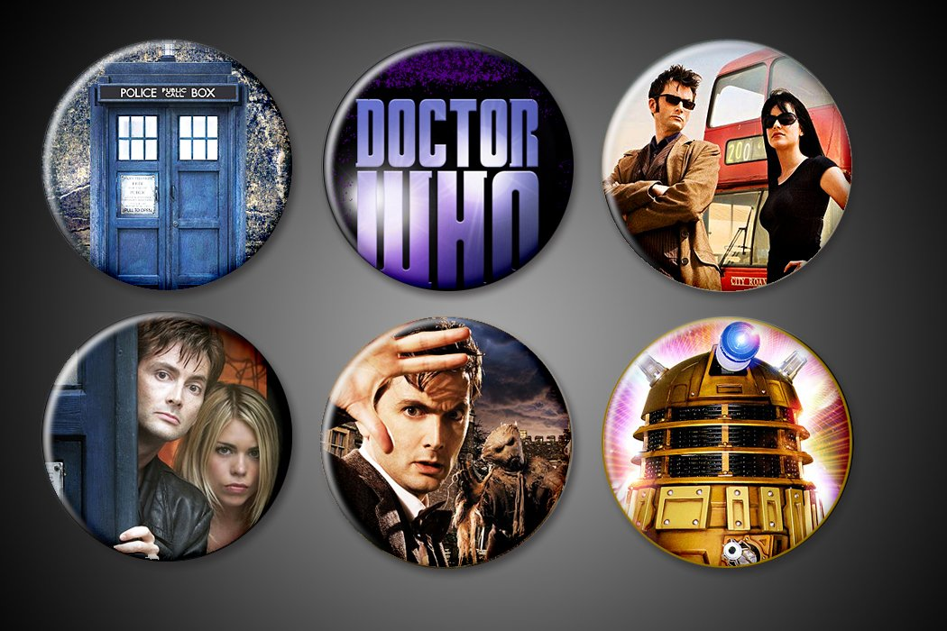 "Doctor Who - 1"" Inch Size - Set of 6 - Fridge Magnetboard - The Doctor, Tardis, Companions, Dalek, Title"
