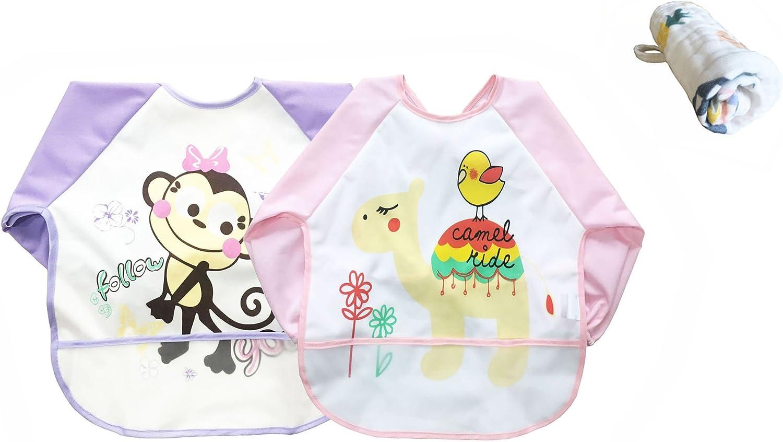 Purple Set de 2 babylaza Infant Toddler beb/é impermeable manga babero 6//–/24/meses pink libre beb/é toallas unisex beb/é manga impermeable Bib Babero para comer y jugar