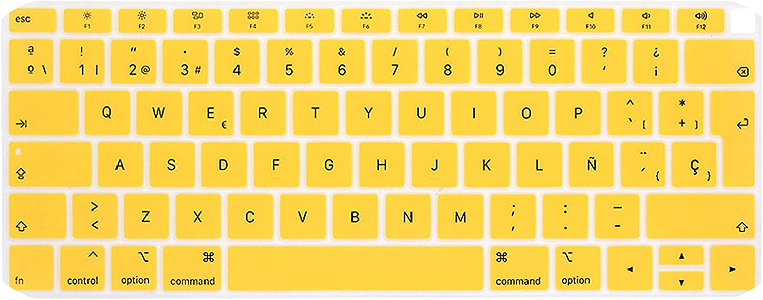 Spanish Chile Laptop Keyboard Cover for MacBook air 13 EU Keyboard Cover Color Protective Film Display Spain Language-Yellow
