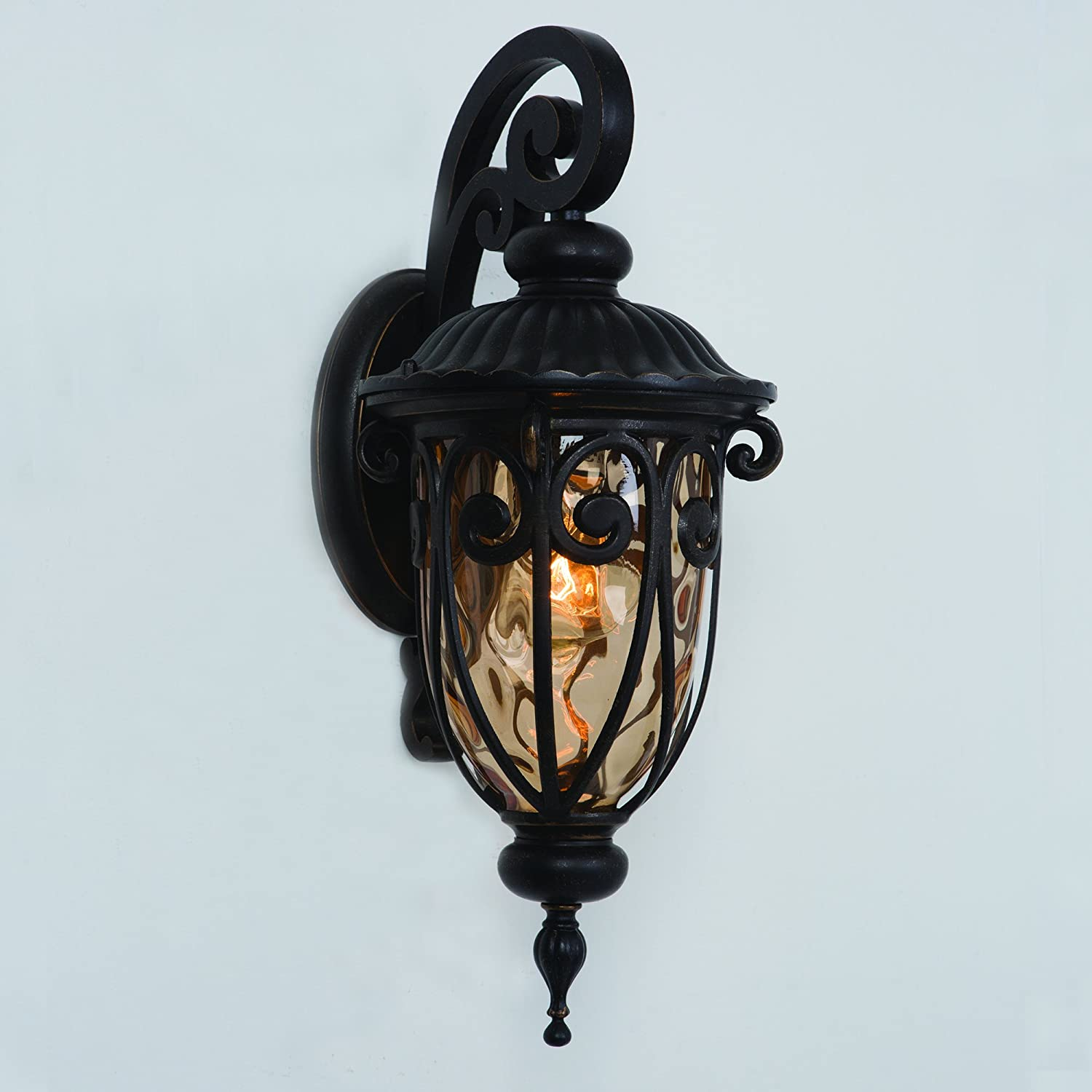 Yosemite Home Decor 519SDIORB Viviana 1 Light Wall Sconce With Gold Stone  Glass   Wall Porch Lights   Amazon.com