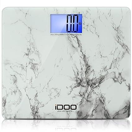 iDOO Báscula de Baño Digital [Diseño de mármol blanco] - De gran tamaño: