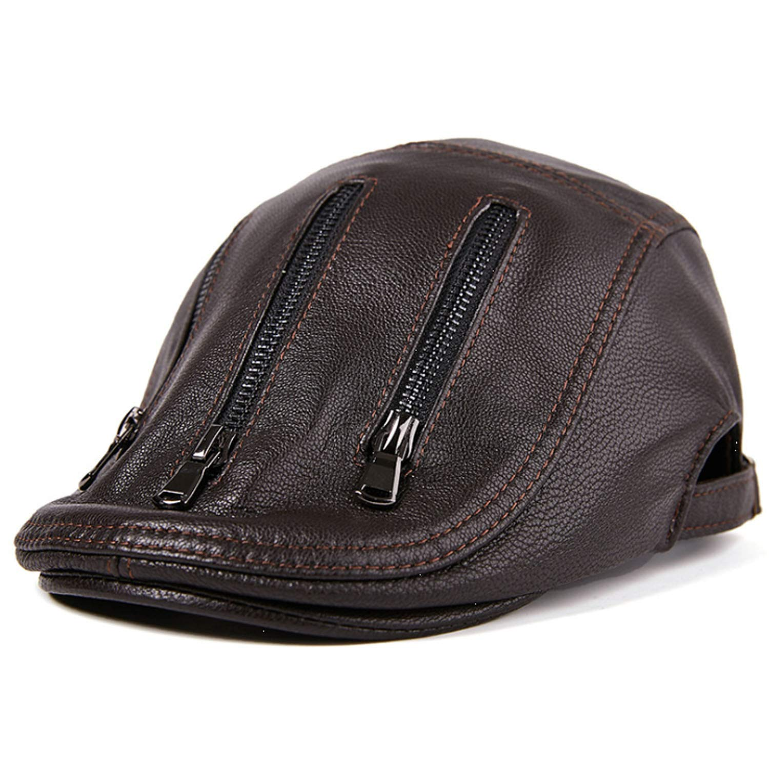MUMUWU Mens Hat Spring Autumn Male Thin Section Leather Beret Baseball Cap Leather Cap Fashion Fashion Winter Color : Black, Size : L