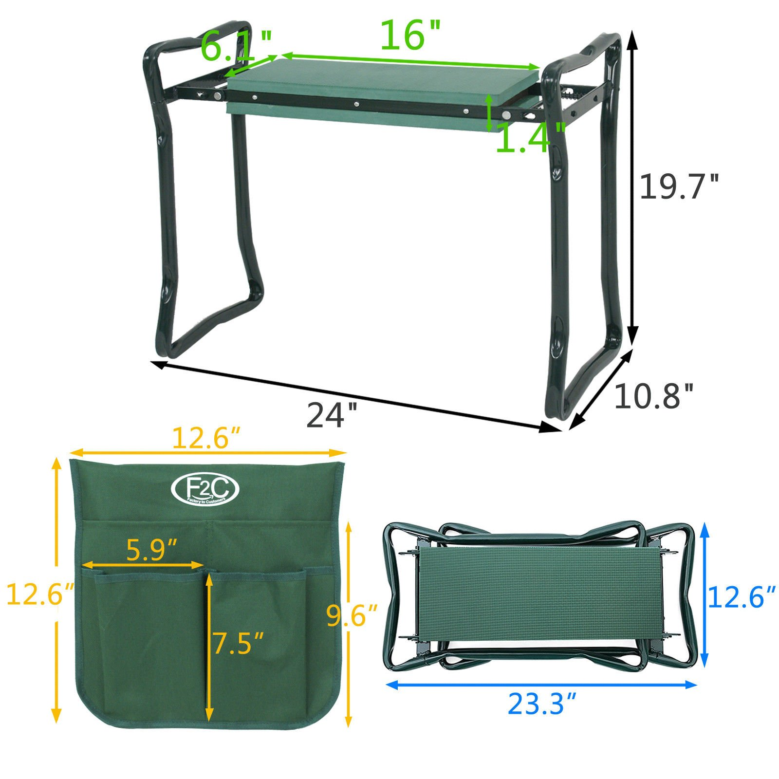 (GG) Garden Kneeler Seat w/EVA Folding Portable Bench Kneeling Pad and Tool Pouch New by Good Grannies by (GG) (Image #1)