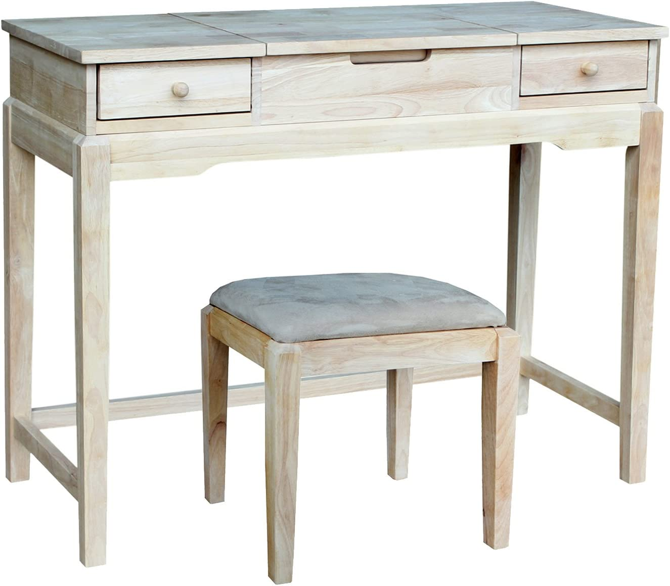International Concepts Vanity Table with Bench, Unfinished
