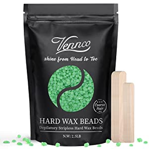 2.5lb Hard Wax Beads, Vennco Wax Beans for Coarse Hair Removal, At Home Self Waxing Beads for Underarms, Legs, Facial, Eyebrows, Bikini and Brazilian Wax, Large Refill Wax for Wax Warmer Kit