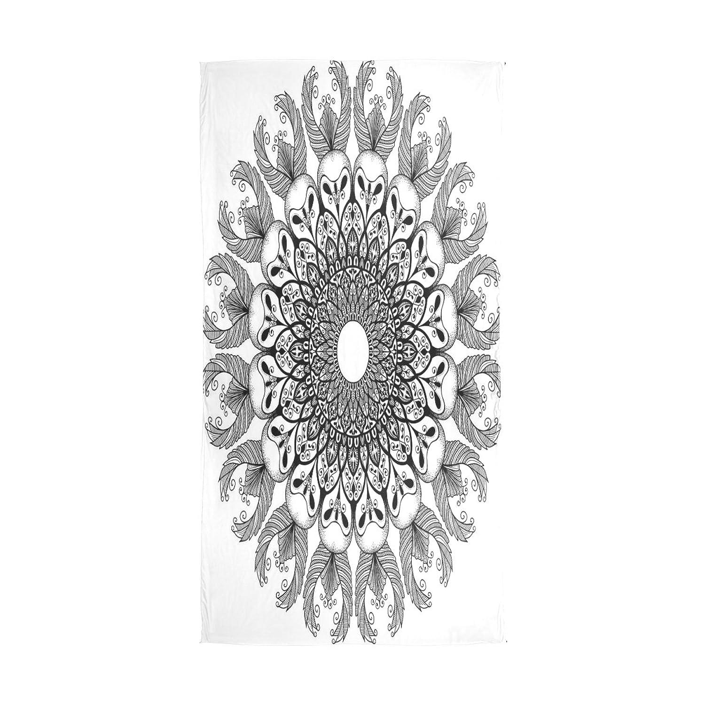 WDYSECRET Owl Mandala Silk Printing Scarves@for Women 70.86x35.4(in)