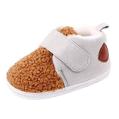Beeliss Baby Winter Loafers Cartoon Fleece Warm Crib Shoes (0-6 Months M US Infant, Light Grey) : Baby