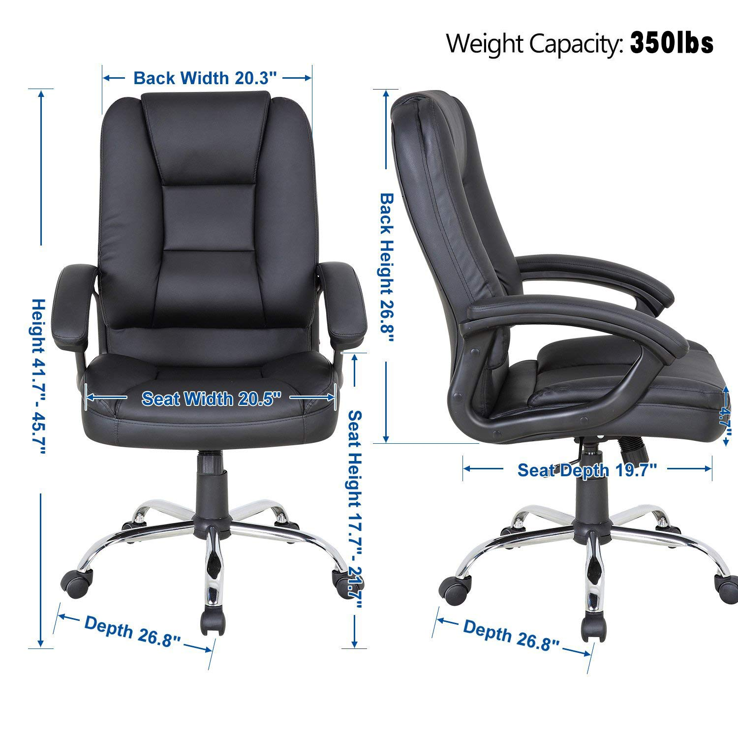 LCH PU Leather Office Chair Swivel Executive Chair with Tilt Function and Thick Seat, Ergonomic Computer Chair Headrest and Lumbar Support 350 LBS (Black) by LCH (Image #6)
