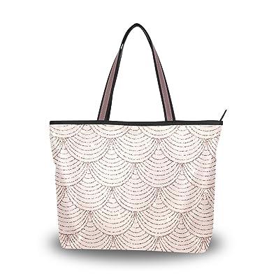 c6a093272 Amazon.com: Women Top Handle Tote Bag Rose Gold Glitter Print Mermaid  Scales Shoulder Bag Handbag: Shoes