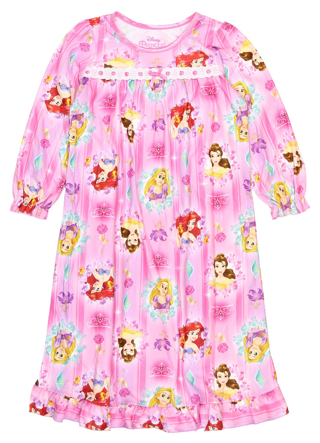 Disney Princess Toddler Girls Long Sleeve Flannel Granny Gown Nightgown Pajamas (3T, Pink) by Disney (Image #1)