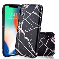 Canshn Clear Cell Phone Case for iPhone X (Shiny Rose Gold/Black)