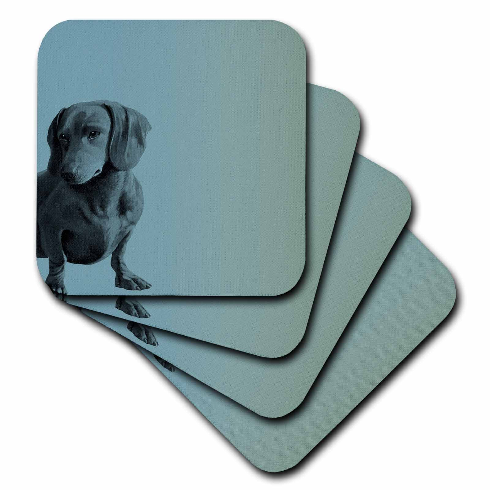 3dRose cst_130560_1 Adorable Daschund Dog Pets Animals Soft Coasters, Set of 4 by 3dRose