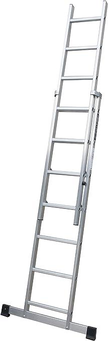 Escalera profesional de aluminio de apoyo extensible con barra estabilizadora 2 x 16 peldaños serie top: Amazon.es: Hogar