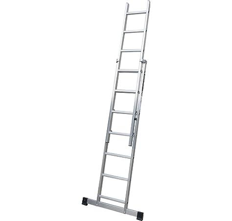 ALTIPESA Escalera Profesional de Aluminio de Apoyo Extensible con Barra estabilizadora 2 x 9 peldaños Serie Top: Amazon.es: Hogar