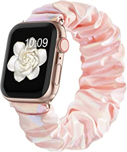 Compatible with Scrunchie Apple Watch Bands 38mm 40mm 42mm 44mm for Women Girl, Canvas Scrunchy Elastic Stretch Glitter Cloth Bracelet Strap for iWatch Series 6 5 4 3 2 1 Se, Pink 38/40mm Small