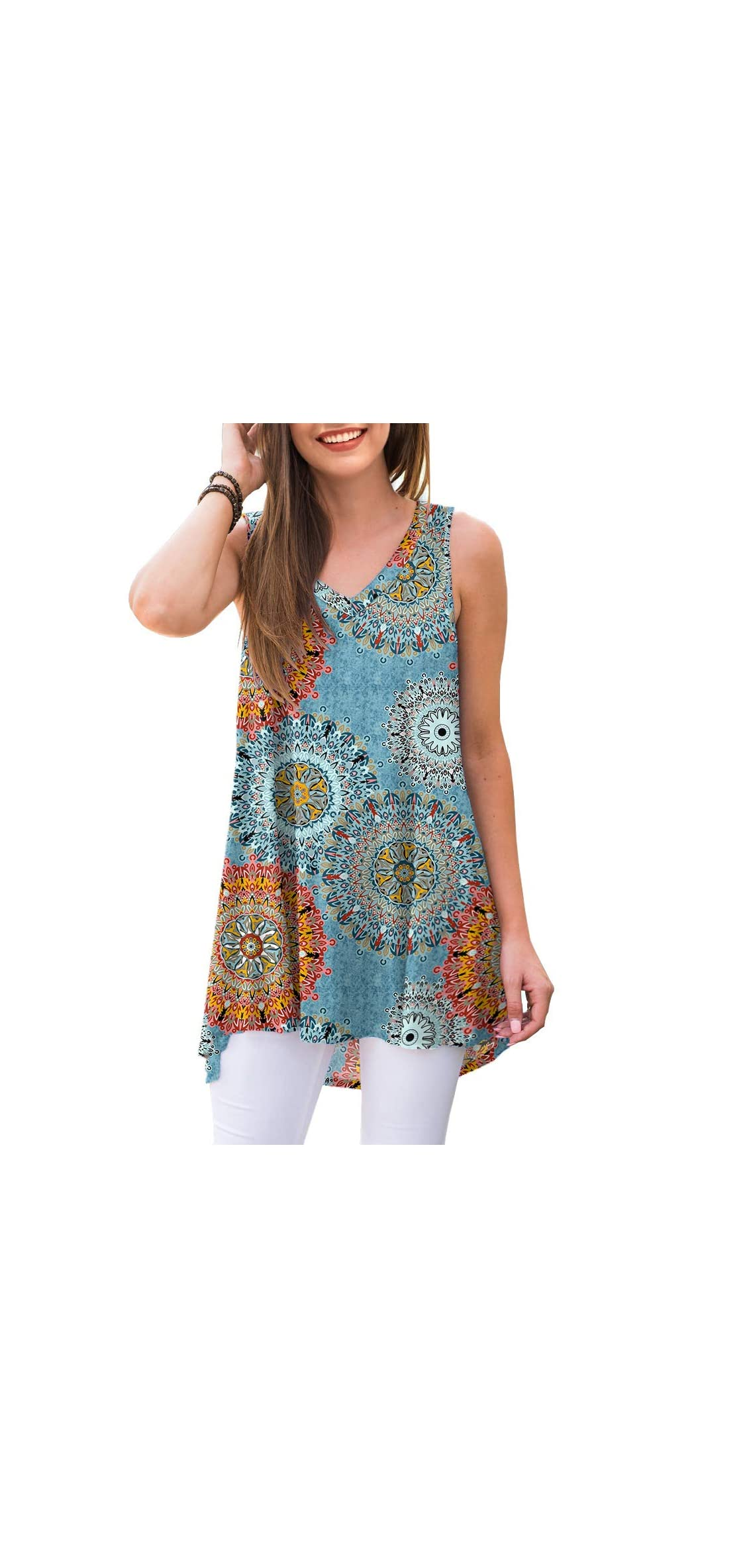 Women's Summer Sleeveless V-neck T-shirt Tunic Tops