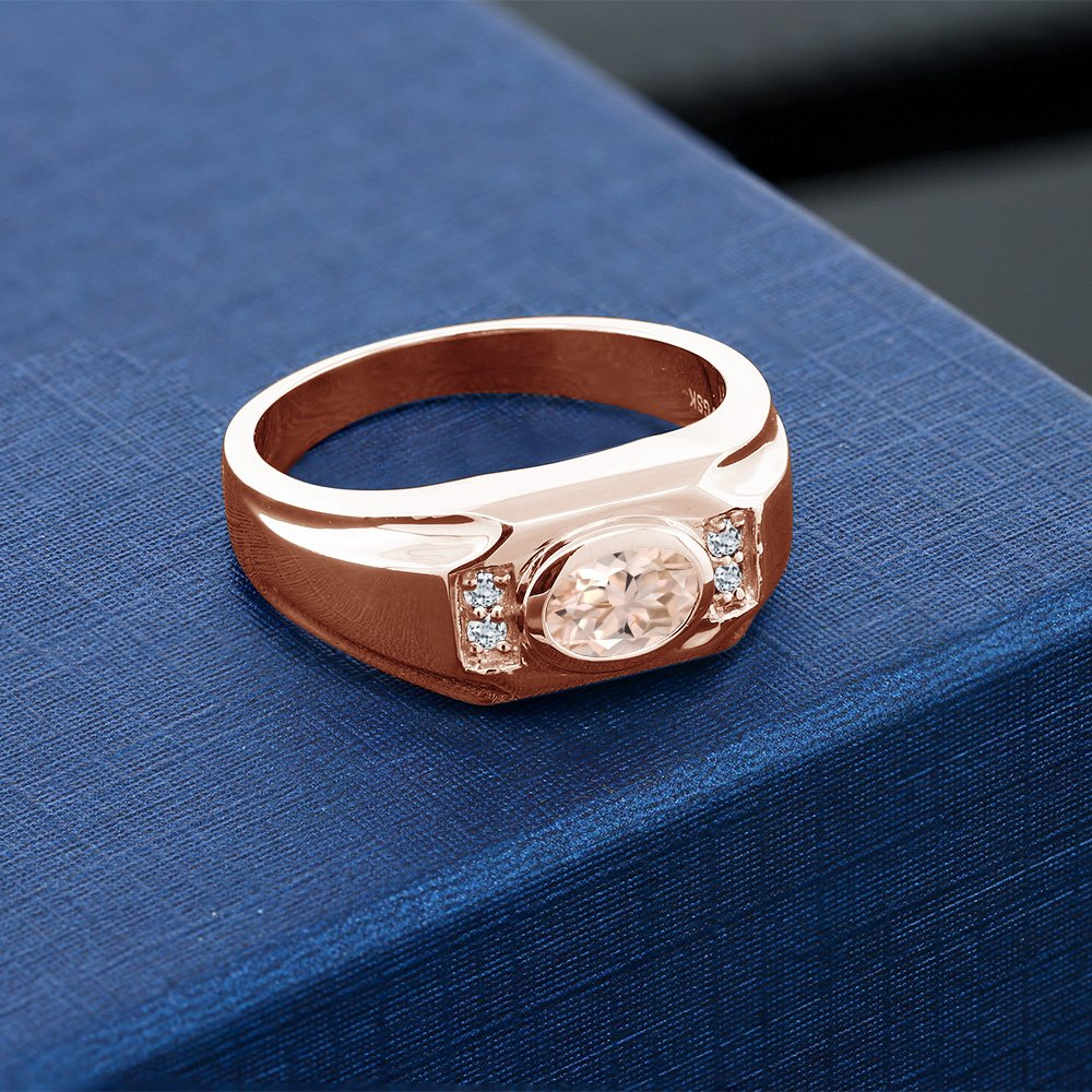 1.16 Ct Oval Peach Morganite White Topaz 18K Rose Gold Plated Silver Men/'s Ring
