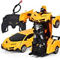Lemonda 2 in 1 Transformation Remote Control Car Rebot One Key Deformation Robot Kids Toy Yellow