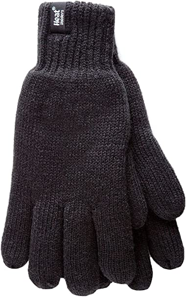 Mens Knitted 2.3 tog Fairisle thermal Gloves by Heat Holders Black Navy Grey