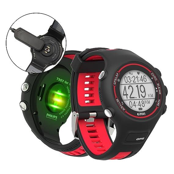 EZON Relojes deportivos digitales de los hombres GPS que funciona el reloj elegante con el monitor