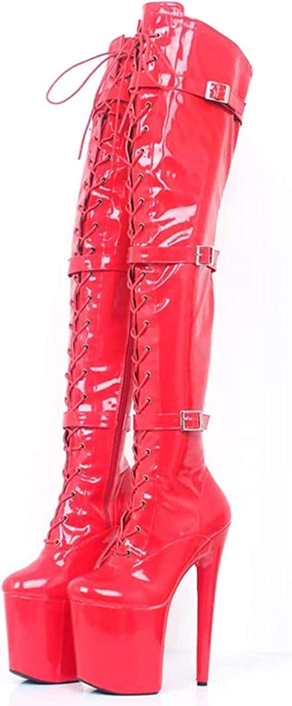 AMYD Stiefel Damen Kniehohe Sandalen High Heels Lange Stiefel Elegante Mädchen Pumps Sm Ballettkönigin Stiefel Huv01,Black,37Eu Red