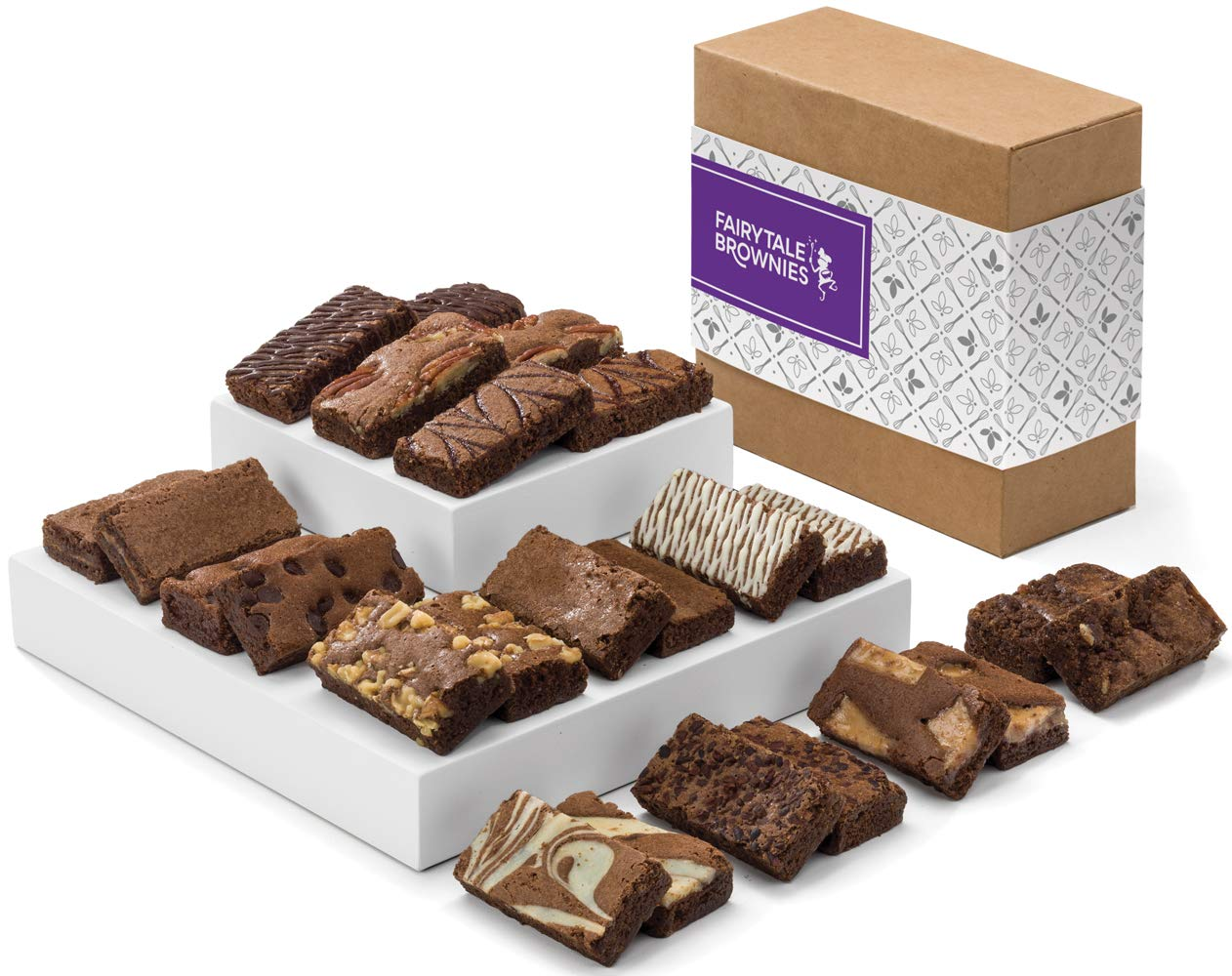 Fairytale Brownies Sprite 24 Gourmet Chocolate Food Gift Basket - 3 Inch x 1.5 Inch Snack-Size Brownies - 24 Pieces - Item CF224