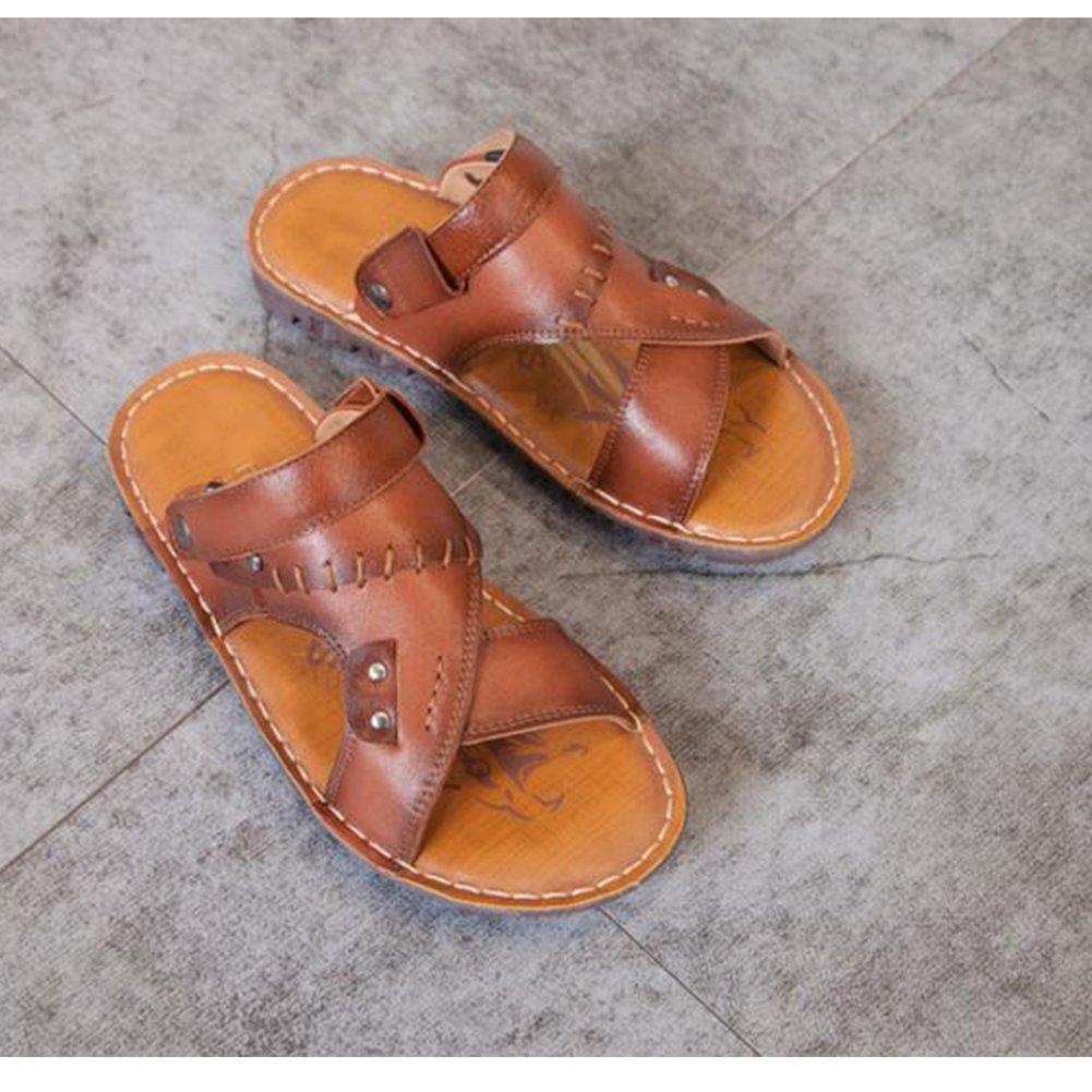 GUOPIN Männer Sommer High-End High-End High-End Handgefertigte Leder Sandalen Flache Ultra Weiche Hausschuhe Casual Wandern Zwei Schuhe,braun,42 6b1179