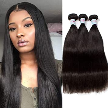 Amazon.com   Leeven 3 Bundles 8A Staight Brazilian Virgin Hair 100%  Unprocessed Human Hair Bundles Natural Black Color Remy Straight Hair  Extensions for ... 4b9571d07c