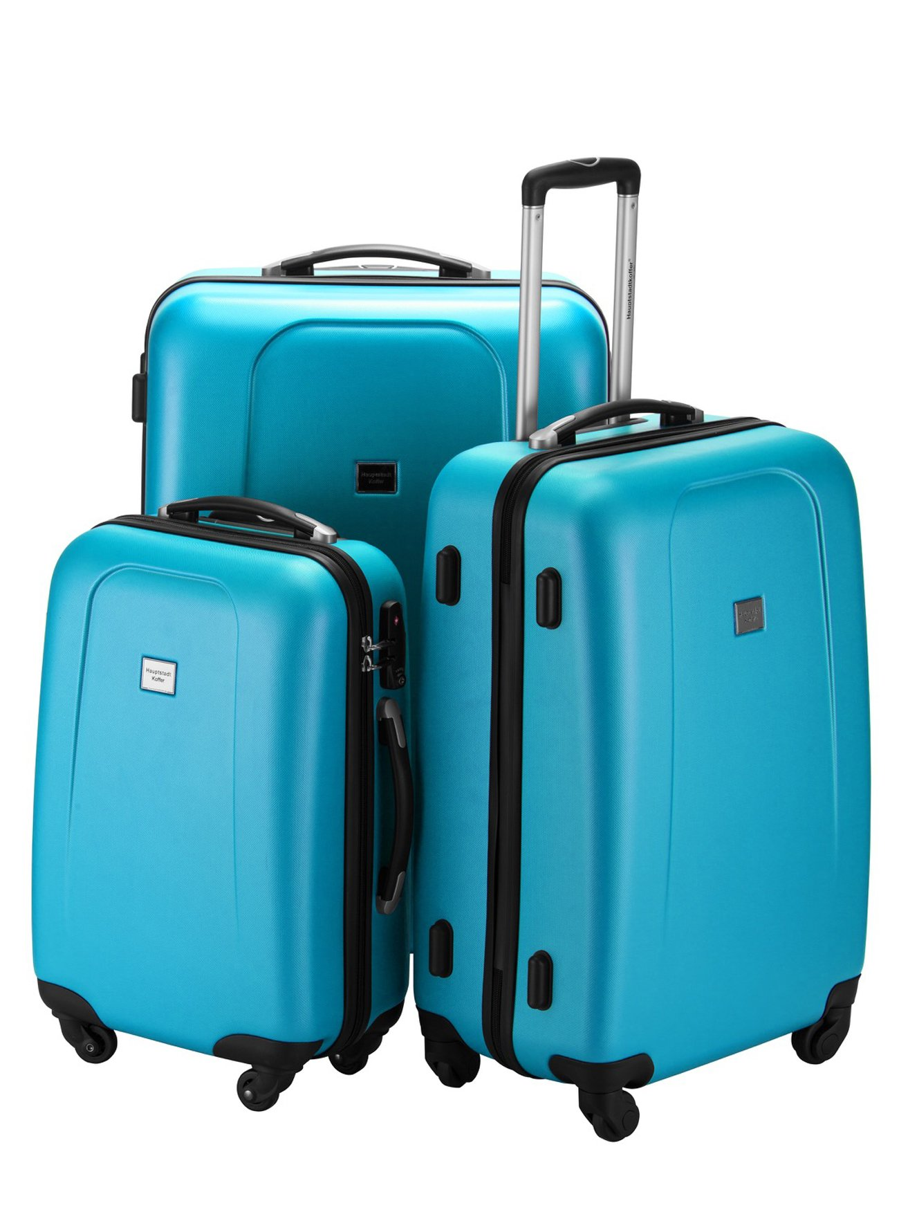 HAUPTSTADTKOFFER Wedding Luggages Set Glossy Suitcase Set Hardside Spinner Trolley (20', 24' & 28') TSA Blue