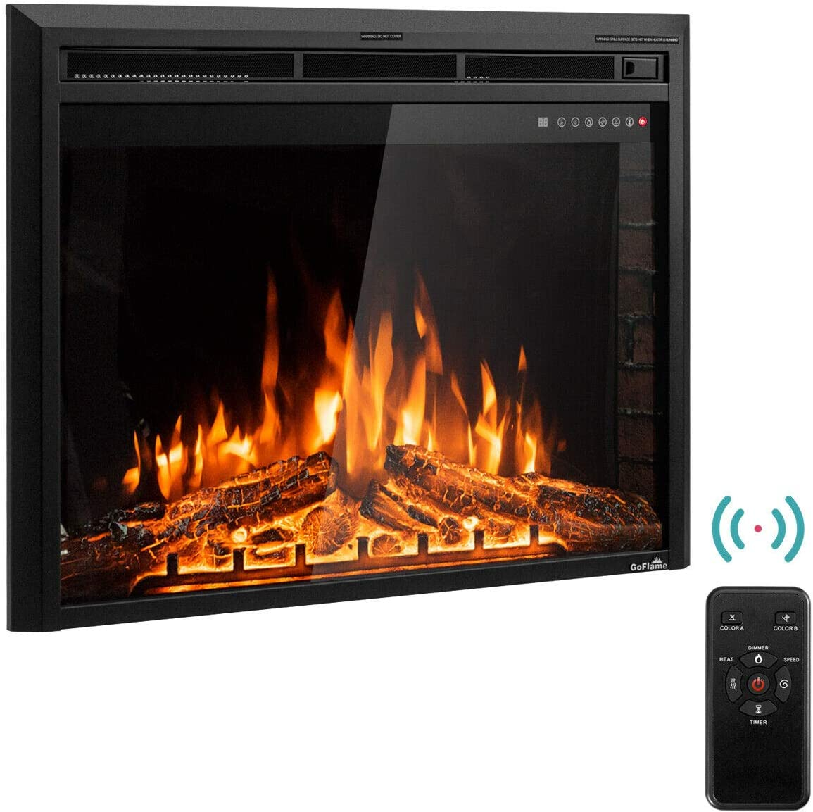 "Tangkula Electric Fireplace Insert 36"", Smokeless 750W-1500W Electric Stove Heater with Remote Control and Adjustable Time Setting for Home Use, Colorful Flame Option Wall Mounted Heater, Black"