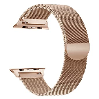 Ouledi Compatible Apple Watch Band 38mm 40mm Stainless Steel Milanese Loop I Watch Band Series 1 Series 2 Series 3 Series 4 Magnetic Closure Champagne Gold by Myflir