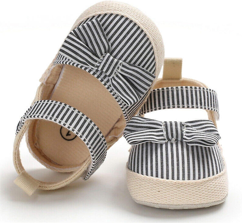 WanXingY Bebé Lindo Zapatos de Verano para niños pequeños Sombrillas de Verano Knot Zapatos de Fiesta de Moda Baby Bey Rayado bebé niña Suave Sandalias (Color : 13 18 Months, Size : Negro)